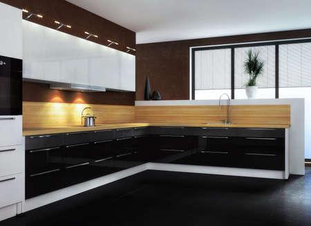 Cuisine La Cuisine Moderne Noir Et Blanc Minimalisme Version ...