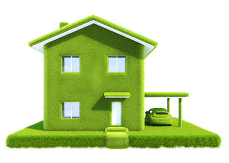 green eco house isolated on white