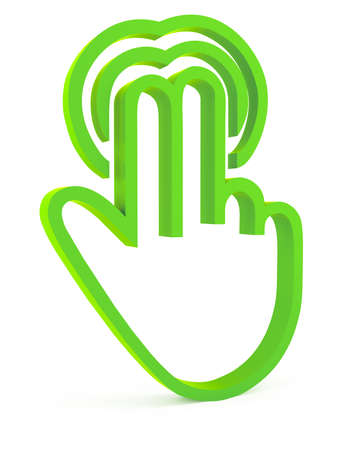 Touch icon, 3d green fingers on white background photo