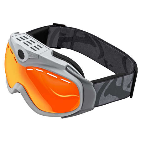 Hiking glasses with protective glass. Goggles for snowboarding. Icon ski goggles on a white background photo