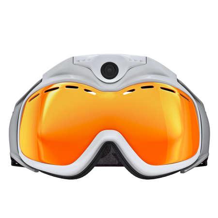Ski goggles white plastic. Ski goggles icon isolated on white background photo