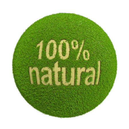 bionomics: Ball with inscription of 100% natural on grass background Stock Photo
