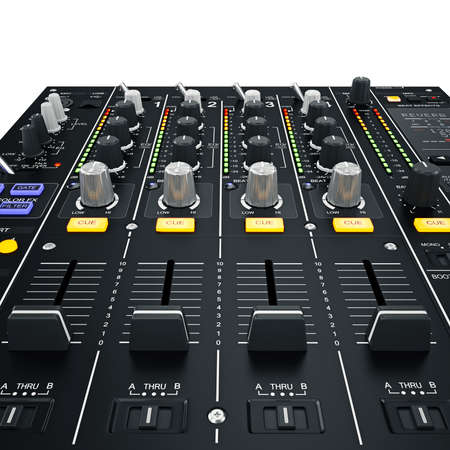 Dj mixer with glowing yellow-blue buttons on white background photo