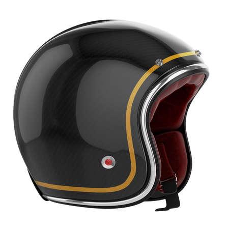 motorized: Motorcycle helmet black. Motorcycle helmet carbon. Helmet classic style. Stock Photo