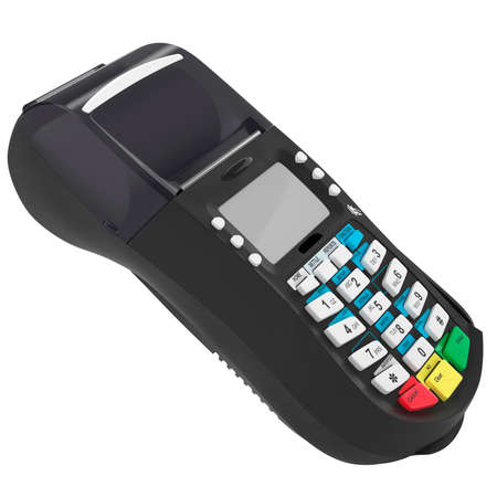payee: The credit card terminal with white buttons