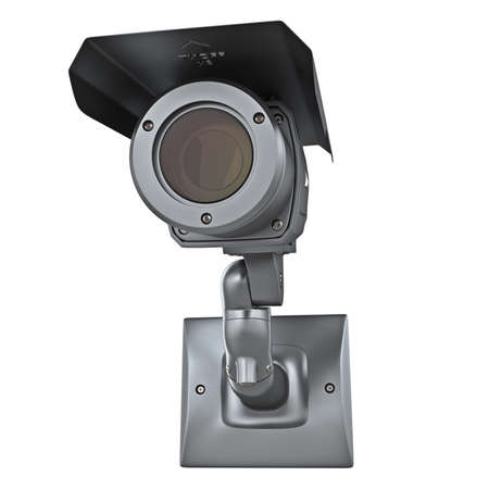 oversight: Video surveillance camera security protection on white isolated background