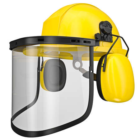 hearing protection: Hearing protection, helmet, mask isolated on a white background Stock Photo