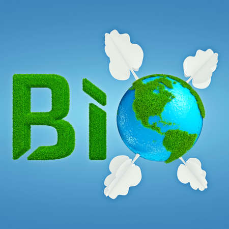 interpretation: Stylized interpretation of the Bio Planet, with Earth thumbnail instead of letter O