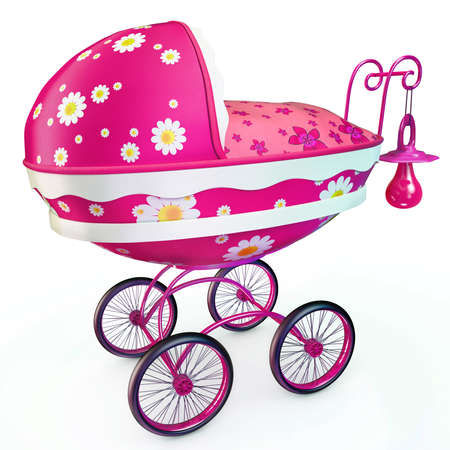 coverlet: Pink buggy with baby dummy on handle Stock Photo