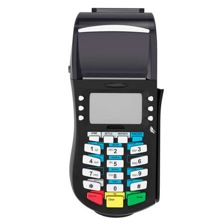 Bank credit card terminal on a white background