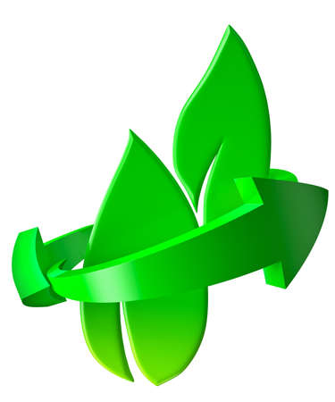 conversing: Bio or eco-friendly green leaves and recycling sign