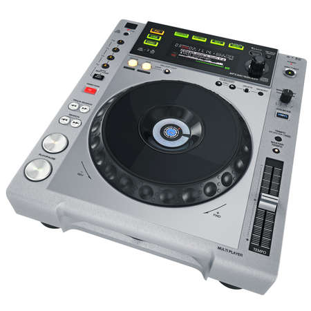 Grey CD player on a white background photo