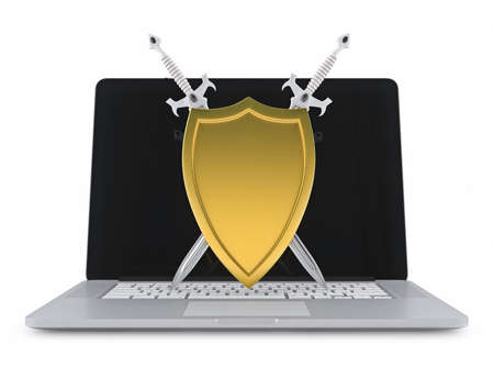 golden shield: Golden shield and swords on a laptop Stock Photo