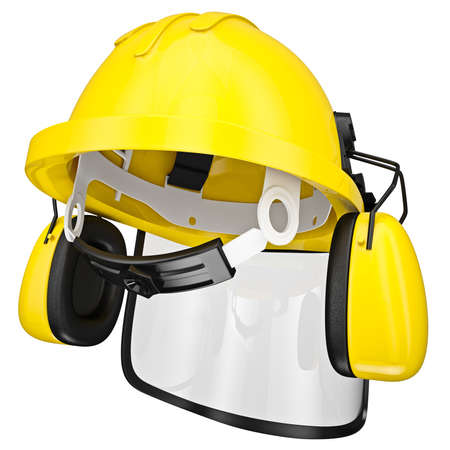 protective mask: Protective helmet with headphones and a protective mask, isolated on a white background