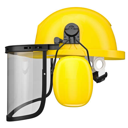 Hearing protection, helmet, mask isolated on a white background photo