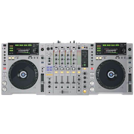 audio mixer: Black Dj set on a white background Stock Photo
