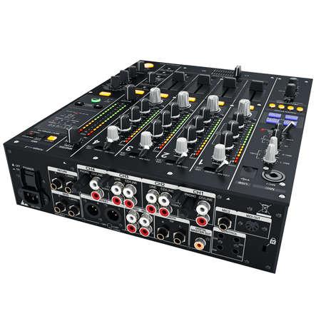 outputs: Black digital DJ mixer. Inputs and outputs