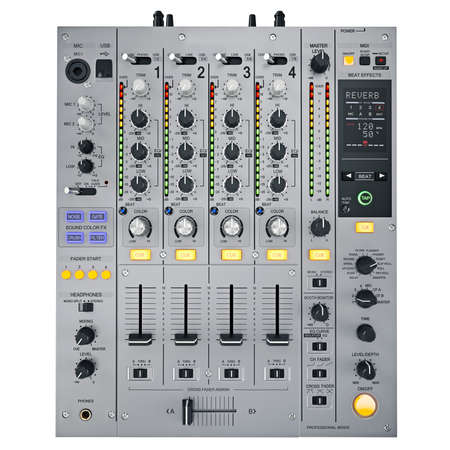dj party: Gray DJ mixer on a white background