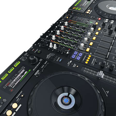 audio mixer: High-quality sound professional dj set on white background Stock Photo
