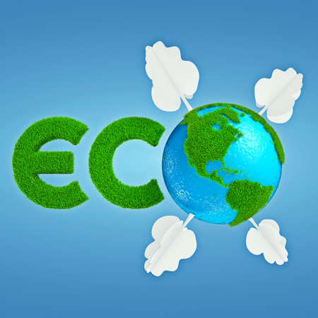 interpretation: Stylized interpretation of the Eco Planet with continents of grass and trees out of paper Stock Photo