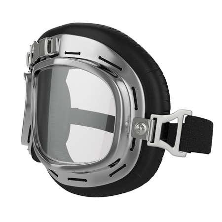 Pilot goggles. Vintage retro aviation bike goggles. White background.