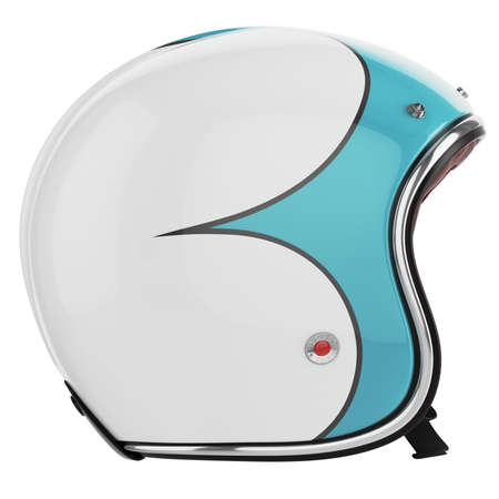 Motorcycle helmet turquoise white. Motorcycle helmet old-fashioned. Helmet left view. Stock Photo