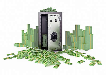 Steel strongbox surrounded with money, Front view Stock Photo