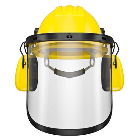 wear mask: Protective helmet with headphones and a protective mask, isolated on a white background