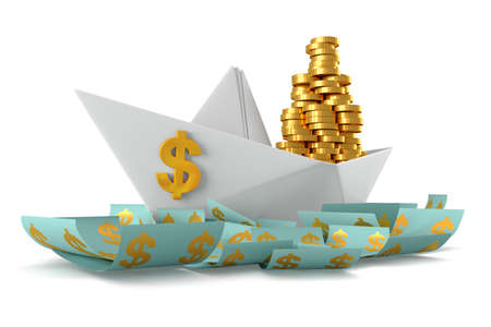 paper currency: Conceptual paper boat floating in the dollar currency and carries a large pile of coins isolated on a white background Stock Photo