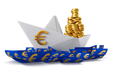 paper currency: Conceptual paper boat floating in the euro currency and carries a large pile of coins isolated on a white background