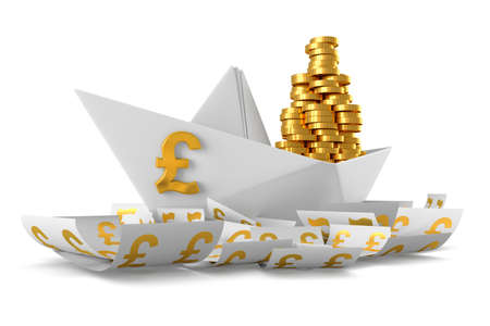 paper currency: Conceptual paper boat floating in the currency Pound sterling and carries a large pile of coins isolated on a white background Stock Photo