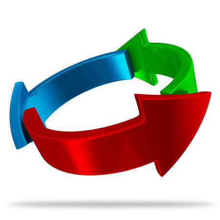 red' green: Awesome looking 3d glossy red, green and blue arrows Stock Photo