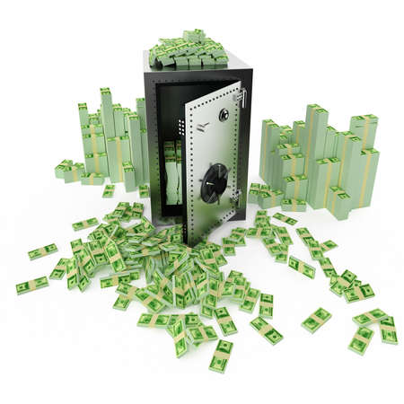 Safe deposit with money around it on a white background Stock Photo