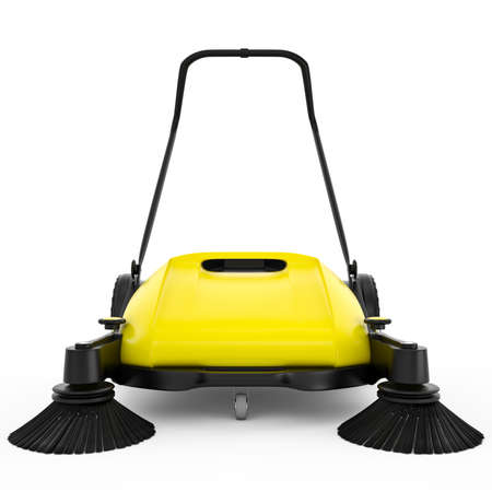 sweeper: Sweeper with black plastic and yellow metal on a white isolated background Stock Photo