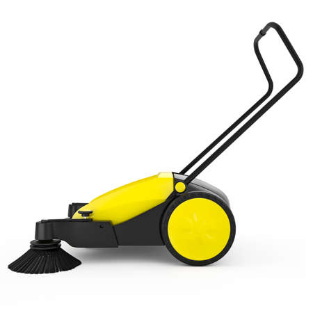 sweeper: Sweeper with a long handle on a white isolated background