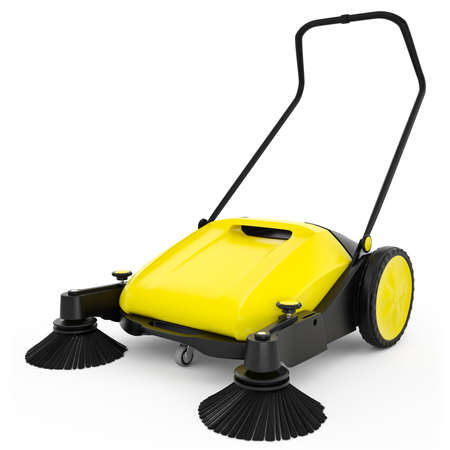Sweeper with black plastic and yellow metal on a white isolated background Reklamní fotografie