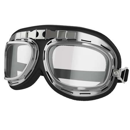 piloto: Old gafas de carreras de cuero en el fondo blanco Foto de archivo