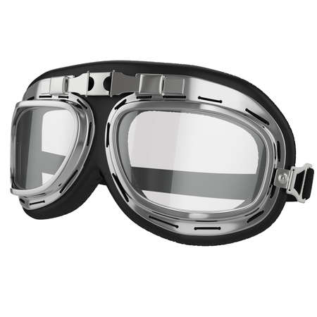 pilot: Old leather race goggles on White background Stock Photo