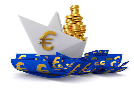 Conceptual paper boat floating in the euro currency and carries a large pile of coins isolated on a white background photo