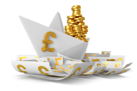 Conceptual paper boat floating in the currency Pound sterling and carries a large pile of coins isolated on a white background photo