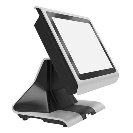 Terminal with touch screen isolated on white background. Modern LCD-monitor for financial transactions