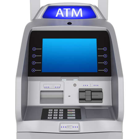 Bank terminal modern style on a white background. ATM cash terminal with display photo