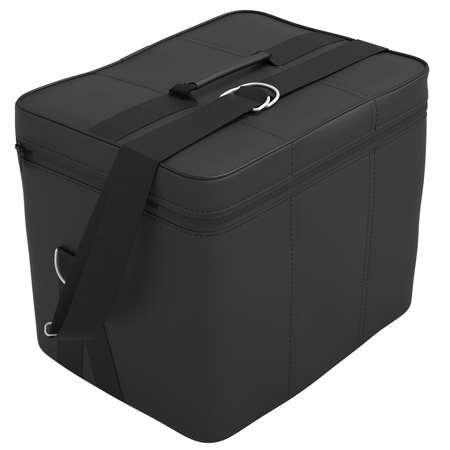 leather bag: Bag black car. Leather bag with shoulder strap a white background Stock Photo