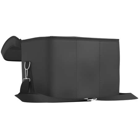 leather stitch: Open leather luggage with a black belt on a white background Stock Photo