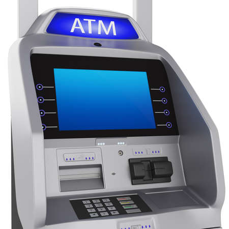 Bank terminal. Modern style on a white background. ATM cash terminal with display photo