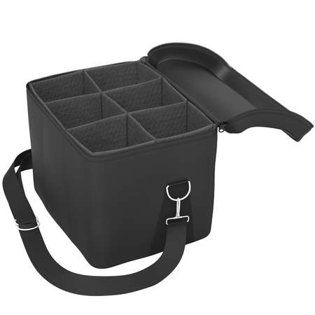 portage: Open black bag with a mesh and a belt on a white background