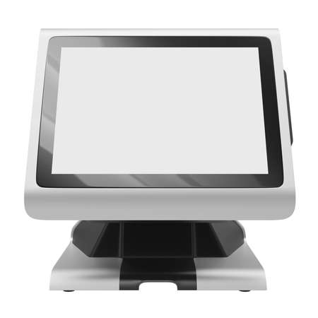 Large touch screen terminal bank. Touchscreen for retsepshona isolated on a white background