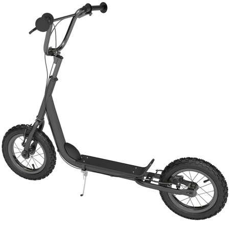 ni�o empujando: Scooter con radios y frenos de mano sobre un fondo blanco