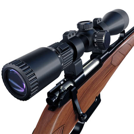 contend: Sniper scope of a hunting rifle detailed view