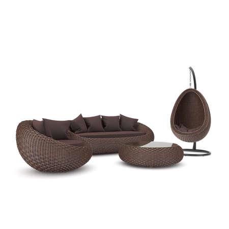 モダンな籐製の家具のセット。白地に藤の家具